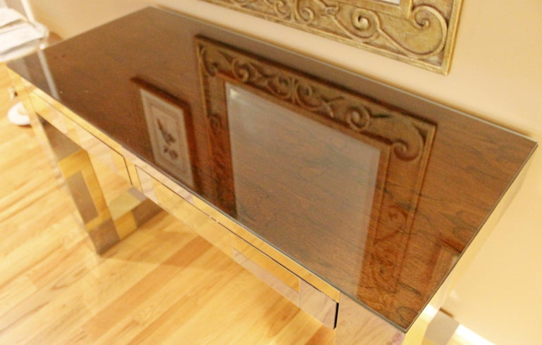 Mid-Century Modern Paul Evans Brass Chrome Rosewood Cityscape Desk Console In Good Condition For Sale In Keego Harbor, MI