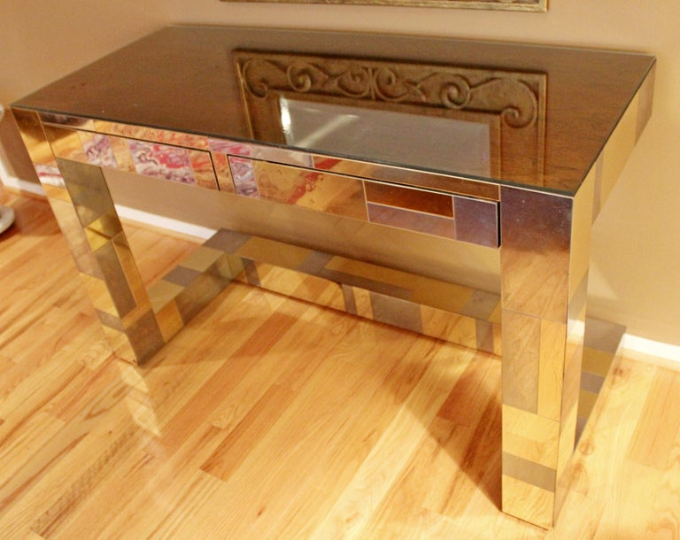 Late 20th Century Mid-Century Modern Paul Evans Brass Chrome Rosewood Cityscape Desk Console For Sale