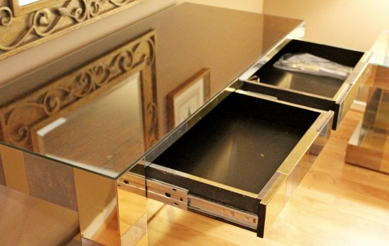 Mid-Century Modern Paul Evans Brass Chrome Rosewood Cityscape Desk Console For Sale 3
