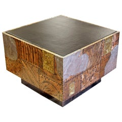 Mid-Century Modern Paul Evans Cube Coffee Table Slate Top Copper Patchwork 1970s
