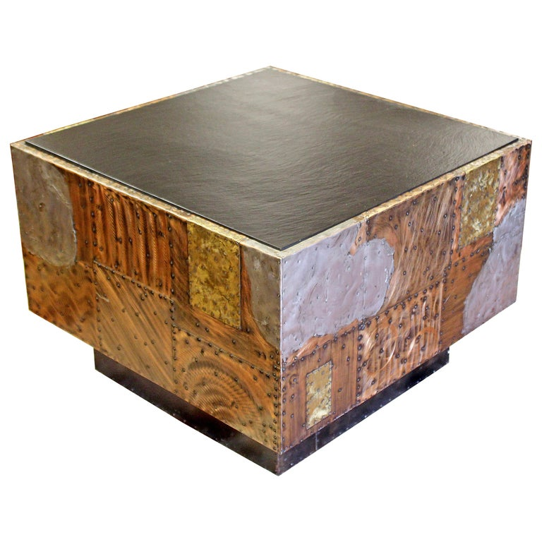 Mid Century Modern Paul Evans Cube Coffee Table Slate Top Copper Patchwork 1970s