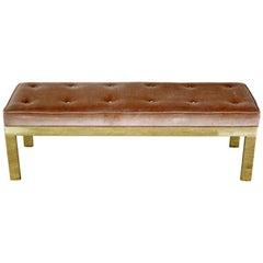 Mid-Century Modern Paul Evans Style Tufted Velvet Solid Brass Bench Seat 1960s