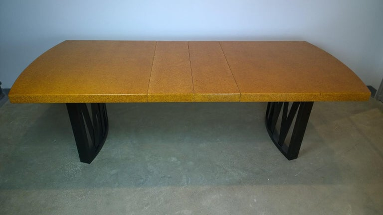 20th Century Paul Frankl Tan or Brown Cork Top and Carved Mahogany Wood Base Dining Table For Sale