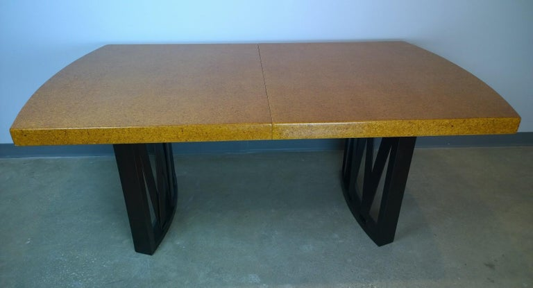 Mid-Century Modern Paul Frankl Tan or Brown Cork Top and Carved Mahogany Wood Base Dining Table For Sale