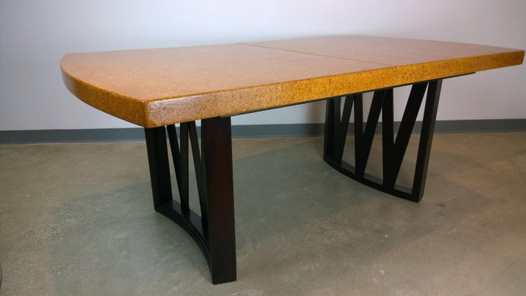 Paul Frankl Tan or Brown Cork Top and Carved Mahogany Wood Base Dining Table For Sale 2