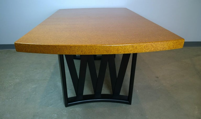 Paul Frankl Tan or Brown Cork Top and Carved Mahogany Wood Base Dining Table For Sale 3