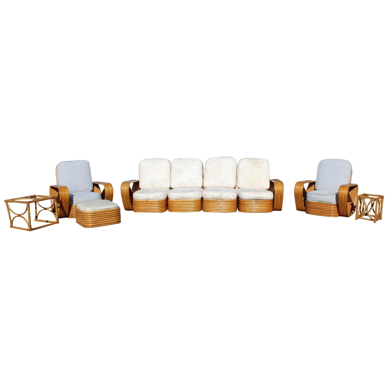 Mid-Century Modern Paul Frankl Pretzel 9-Piece Rattan Patio Set Sofa Armchairs