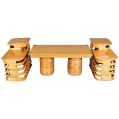 Mid-Century Modern Paul Frankl School Three-Piece Teak and Rattan Table Set
