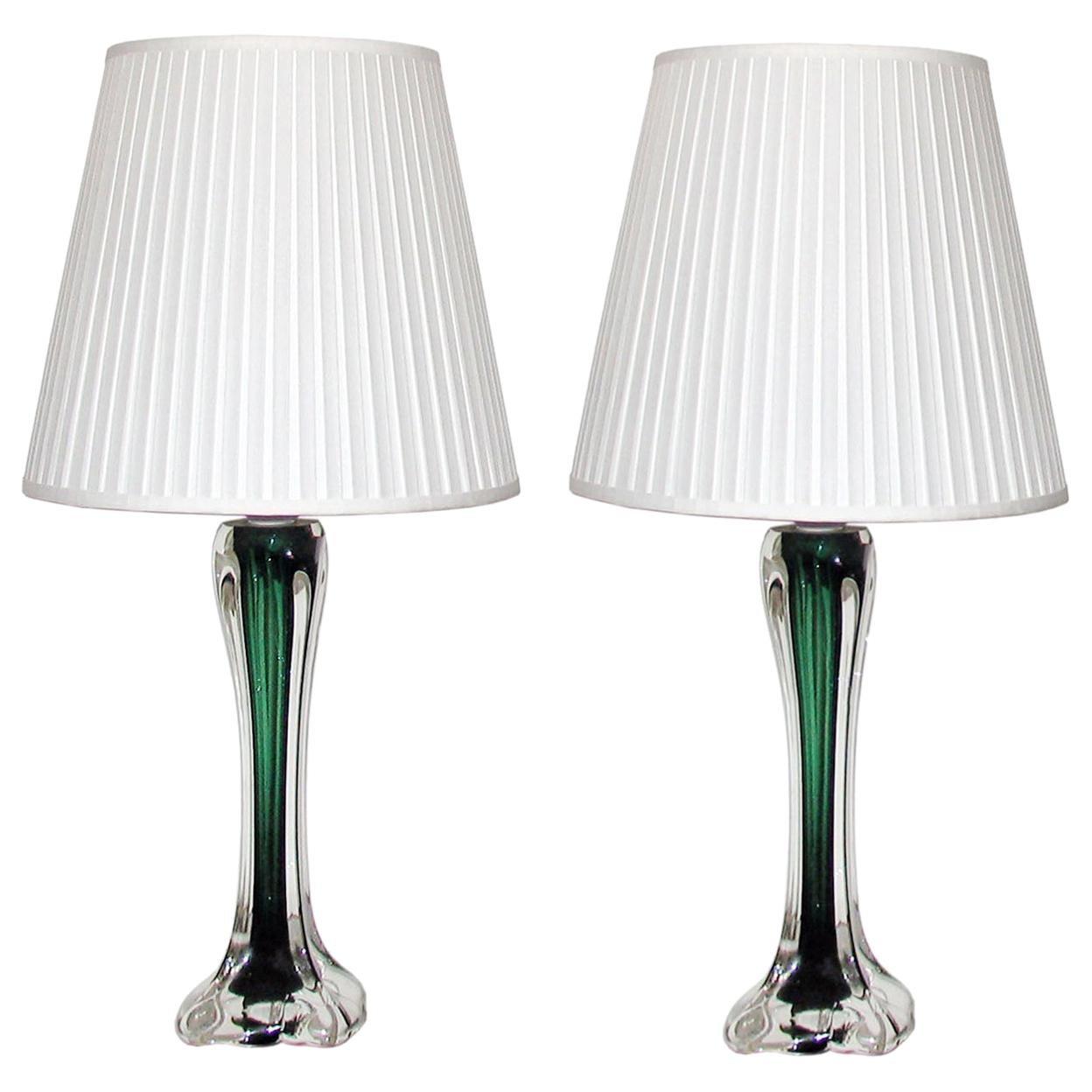 Mid-Century Modern Paul Kedelv Flygsfors Green Glass Table Lamps, Sweden, 1950s