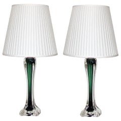 Mid-Century Modern Paul Kedelv Flygsfors Green Glass Table Lamps, Sweden, 1950s