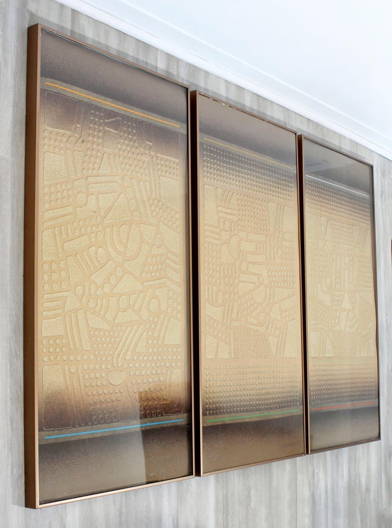For your consideration is a phenomenal, framed triptych of stencil cast paper art by Paul Maxwell, signed and numbered out of 150. Raised and repeated three dimensional. In excellent condition. The dimensions each are 20.5