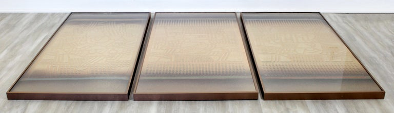 American Mid-Century Modern Paul Maxwell Signed Framed Stencil Cast Paper Triptych, 1970s For Sale