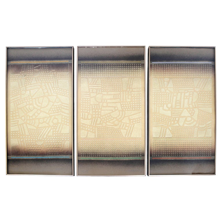 Mid-Century Modern Paul Maxwell Signed Framed Stencil Cast Paper Triptych, 1970s For Sale