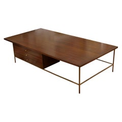 Mid-Century Modern Paul McCobb Irwin Calvin Mahogany Brass Coffee Table, 1950s
