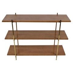 Mid-Century Modern Paul McCobb Style 3-Tier Maple and Brass Bookshelf