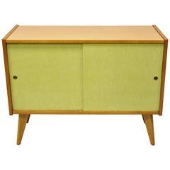 Mid-Century Modern Paul McCobb Style Sliding Door Yellow Credenza Cabinet Buffet