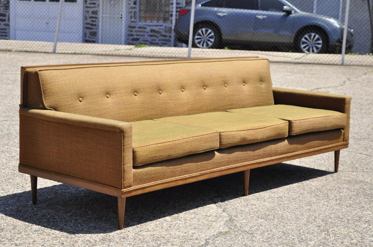 Mid-Century Modern Paul McCobb Style Wood Frame Sofa Couch by J.B. Van Sciver For Sale 6