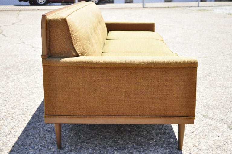 Mid-Century Modern Paul McCobb Style Wood Frame Sofa Couch by J.B. Van Sciver In Good Condition For Sale In Philadelphia, PA