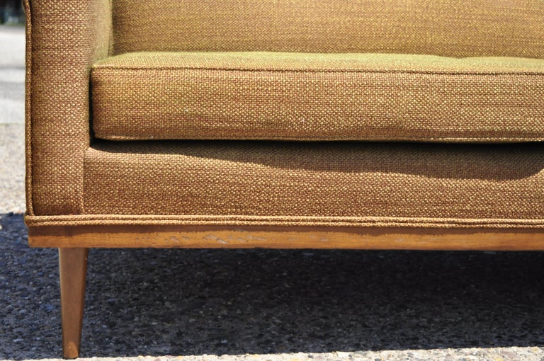 Wool Mid-Century Modern Paul McCobb Style Wood Frame Sofa Couch by J.B. Van Sciver For Sale