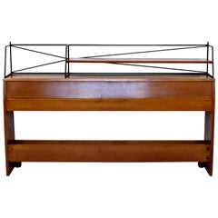 Mid-Century Modern Paul McCobb Winchendon Headboard Iron and Wood with Shelf