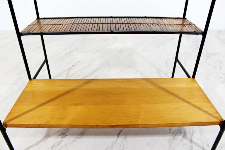 Mid-Century Modern Paul McCobb Winchendon Iron Maple Rattan Three-Tier End Table For Sale 5