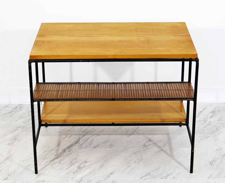 American Mid-Century Modern Paul McCobb Winchendon Iron Maple Rattan Three-Tier End Table For Sale