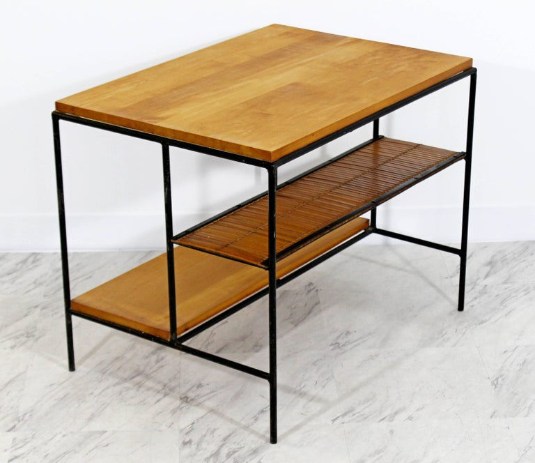 Mid-Century Modern Paul McCobb Winchendon Iron Maple Rattan Three-Tier End Table In Good Condition For Sale In Keego Harbor, MI