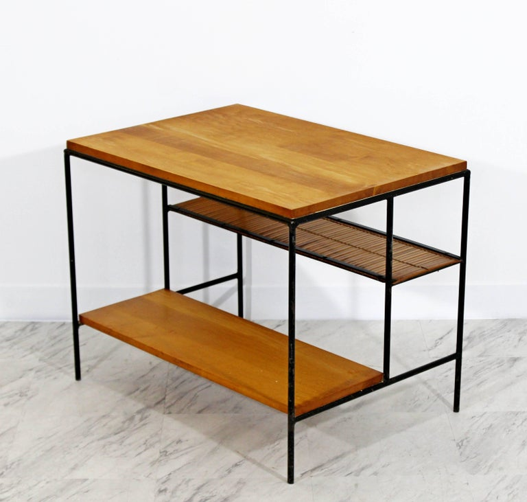 Mid-Century Modern Paul McCobb Winchendon Iron Maple Rattan Three-Tier End Table For Sale 2
