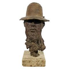 Mid-Century Modern Paul Suttman Signed Self Portrait Bronze Table Sculpture 1962