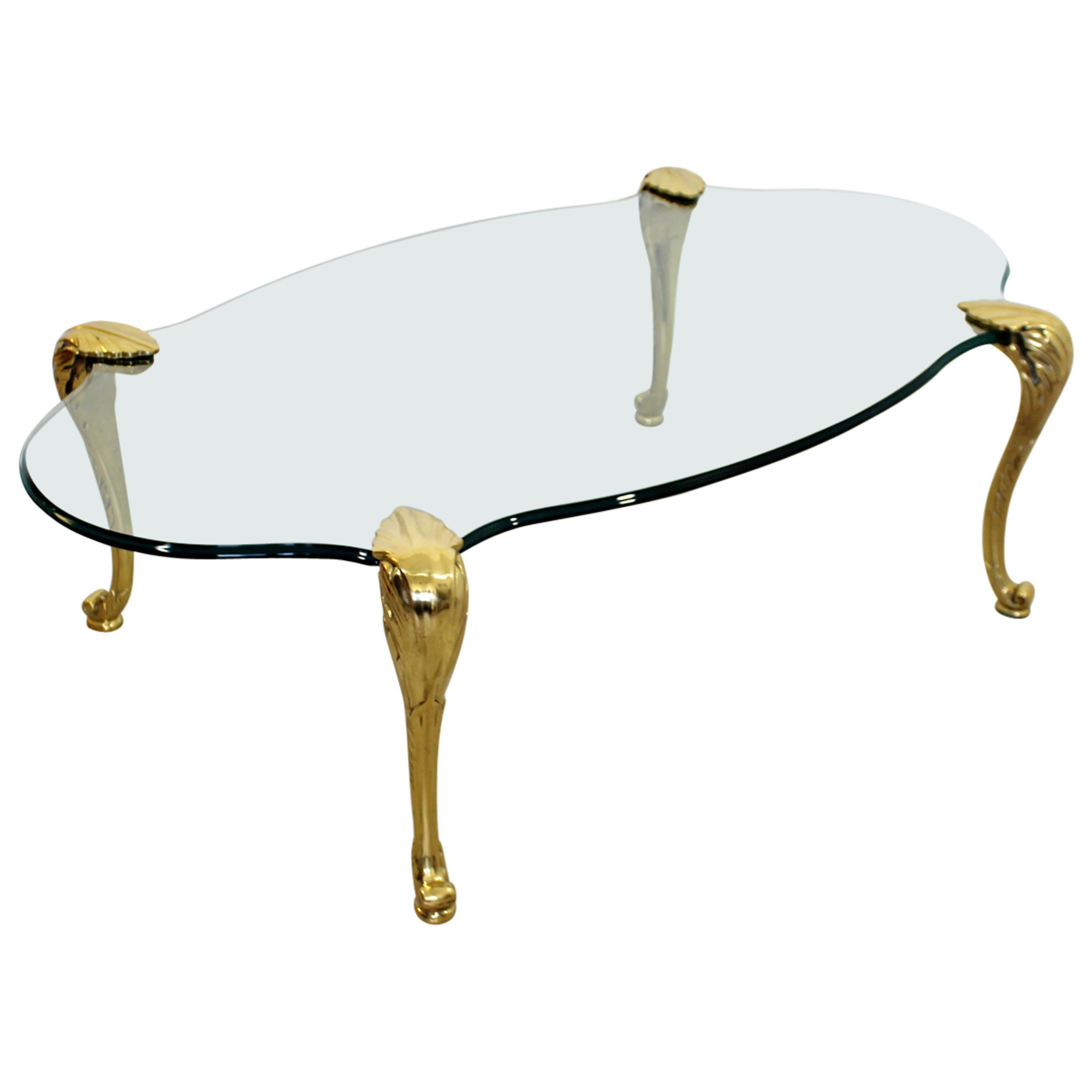Mid-Century Modern P.E. Guerin Attr. Brass and Glass Sculpted Coffee Table 1950s