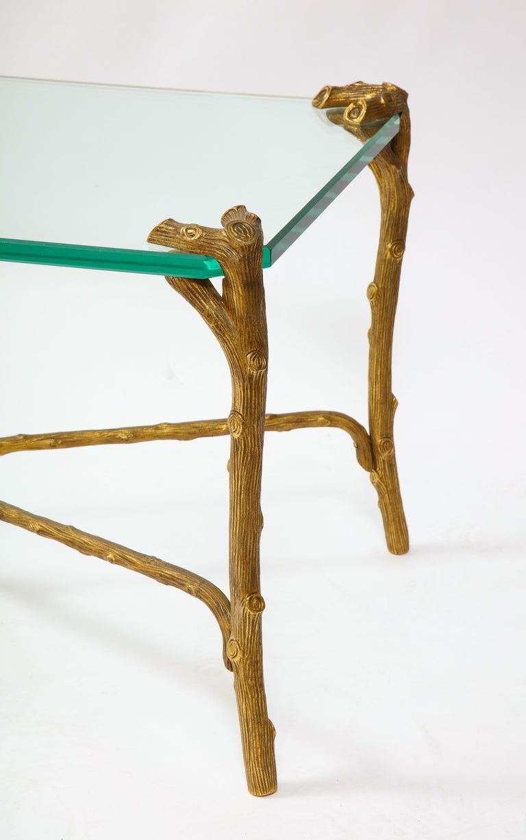 Mid-Century Modern P.E. Guerin Faux Bois Gilt Bronze Table w/ Stretcher, Signed For Sale 4