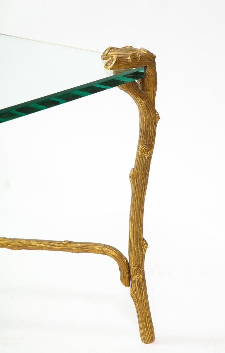 Mid-Century Modern P.E. Guerin Faux Bois Gilt Bronze Table w/ Stretcher, Signed For Sale 5