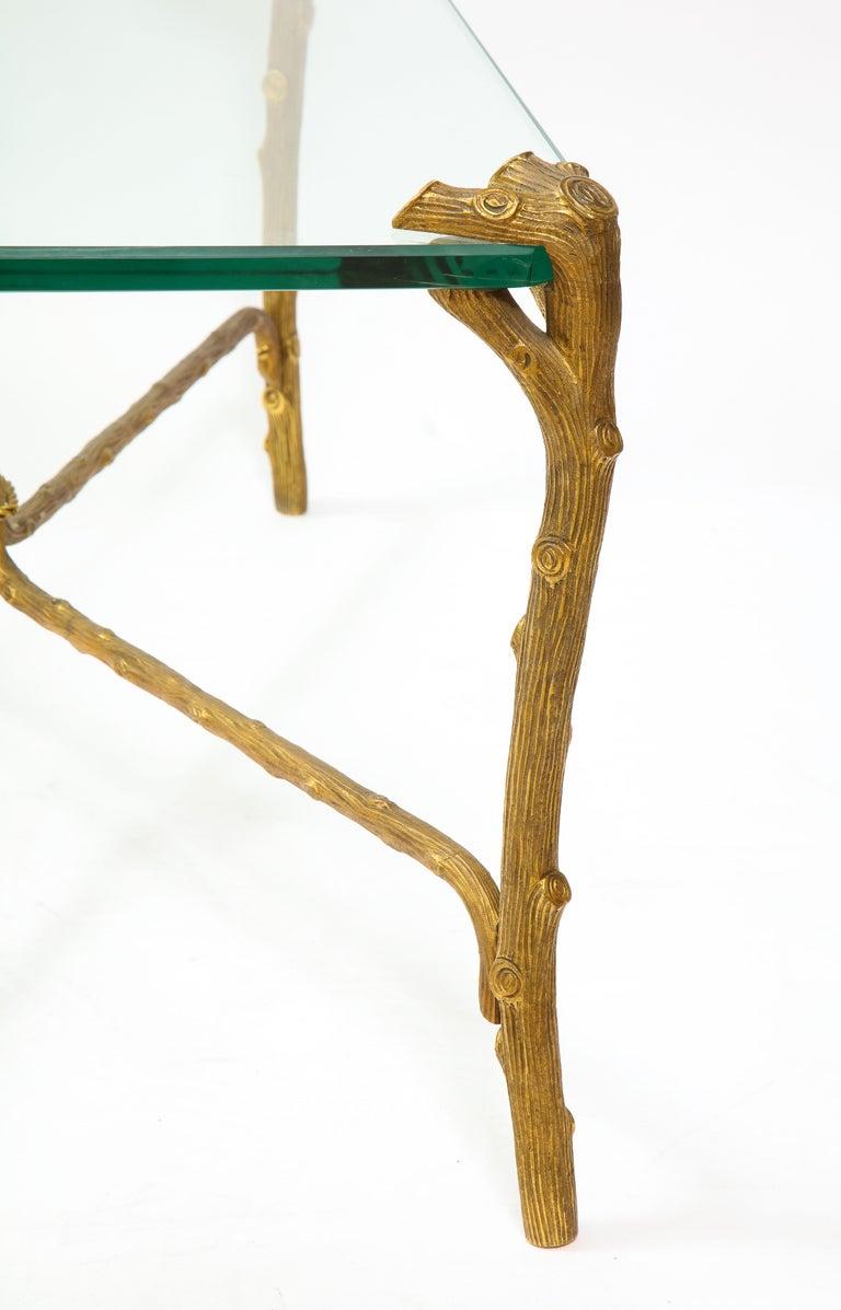 Mid-Century Modern P.E. Guerin Faux Bois Gilt Bronze Table w/ Stretcher, Signed For Sale 9