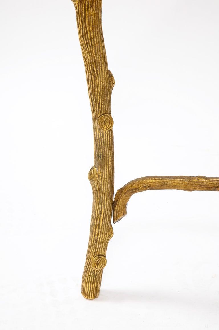 Mid-Century Modern P.E. Guerin Faux Bois Gilt Bronze Table w/ Stretcher, Signed For Sale 10