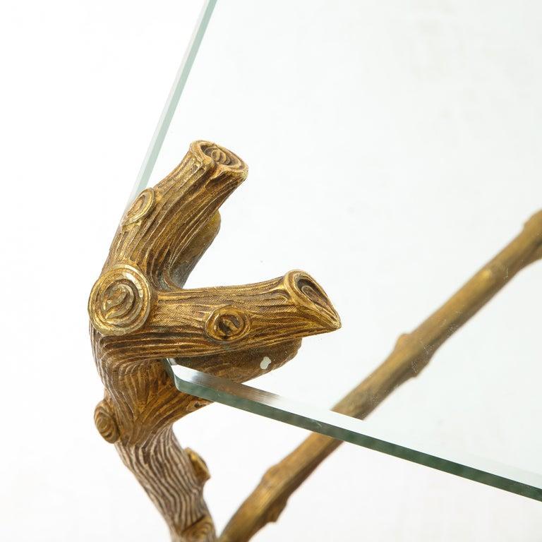 Mid-Century Modern P.E. Guerin Faux Bois Gilt Bronze Table w/ Stretcher, Signed For Sale 11