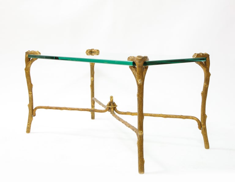 American Mid-Century Modern P.E. Guerin Faux Bois Gilt Bronze Table w/ Stretcher, Signed For Sale