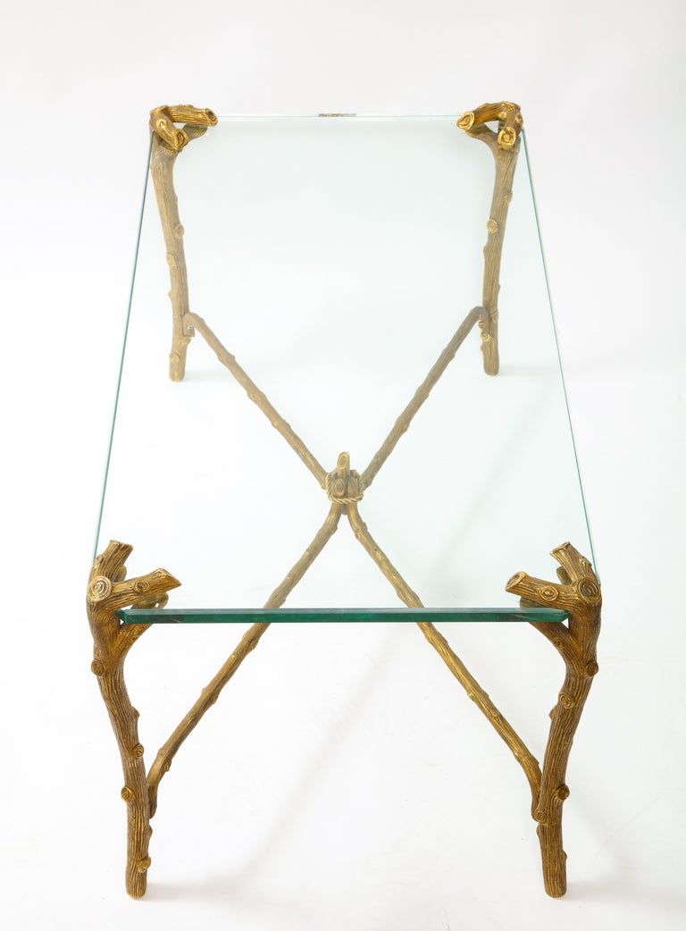 Hand-Carved Mid-Century Modern P.E. Guerin Faux Bois Gilt Bronze Table w/ Stretcher, Signed For Sale