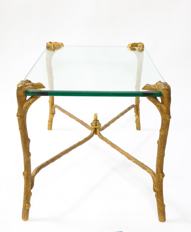 Mid-Century Modern P.E. Guerin Faux Bois Gilt Bronze Table w/ Stretcher, Signed In Good Condition For Sale In New York, NY