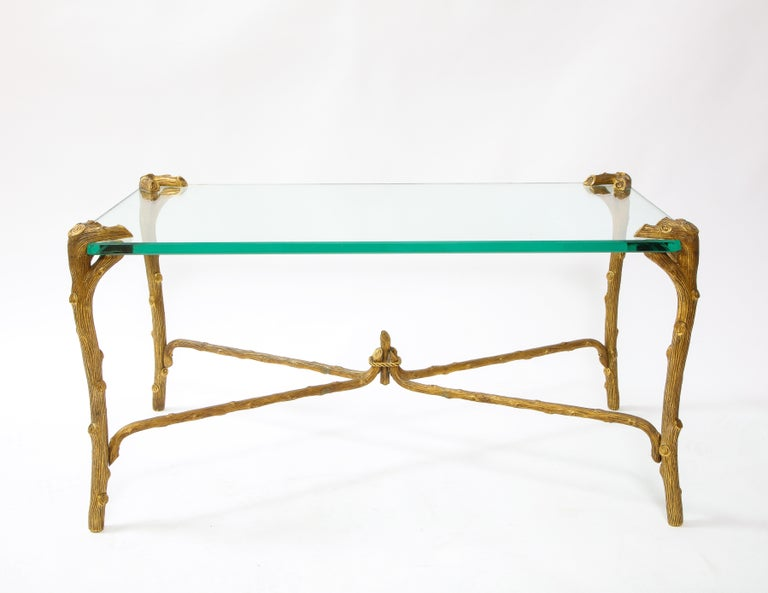 20th Century Mid-Century Modern P.E. Guerin Faux Bois Gilt Bronze Table w/ Stretcher, Signed For Sale