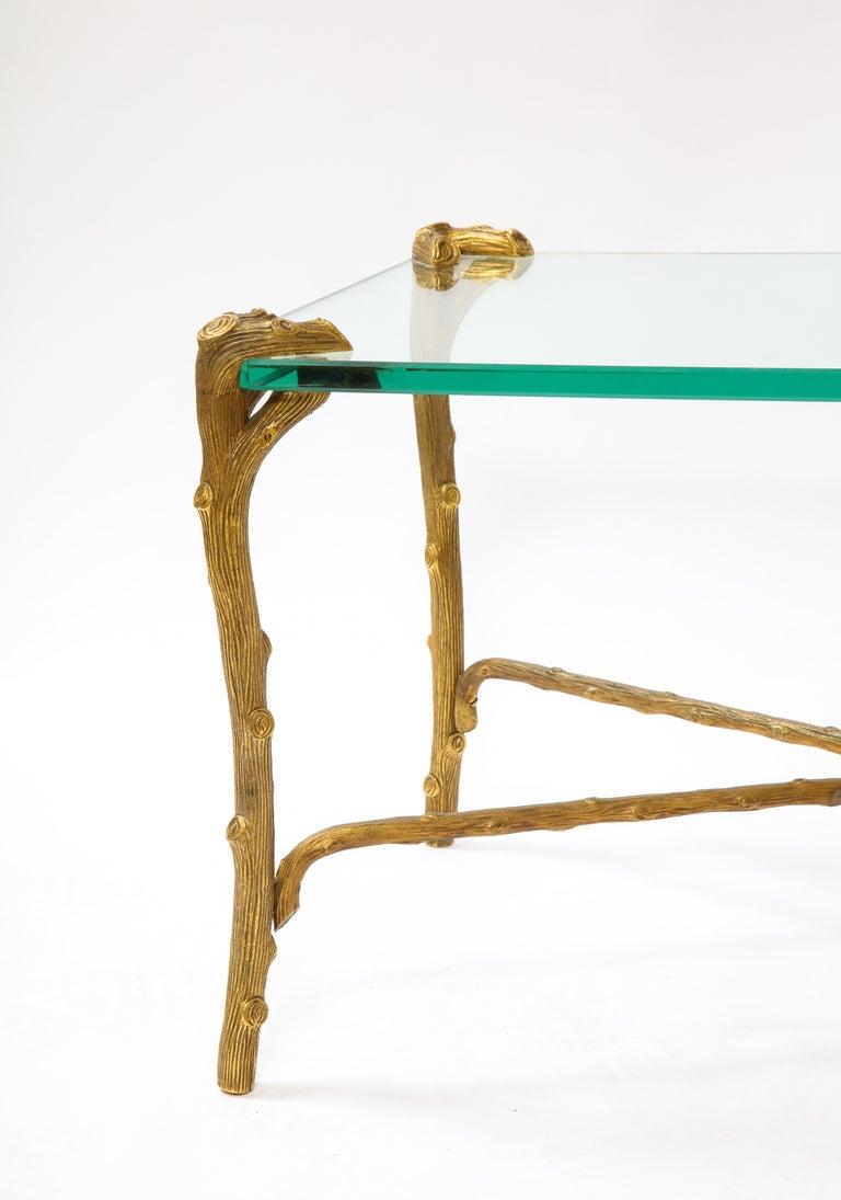 Mid-Century Modern P.E. Guerin Faux Bois Gilt Bronze Table w/ Stretcher, Signed For Sale 1