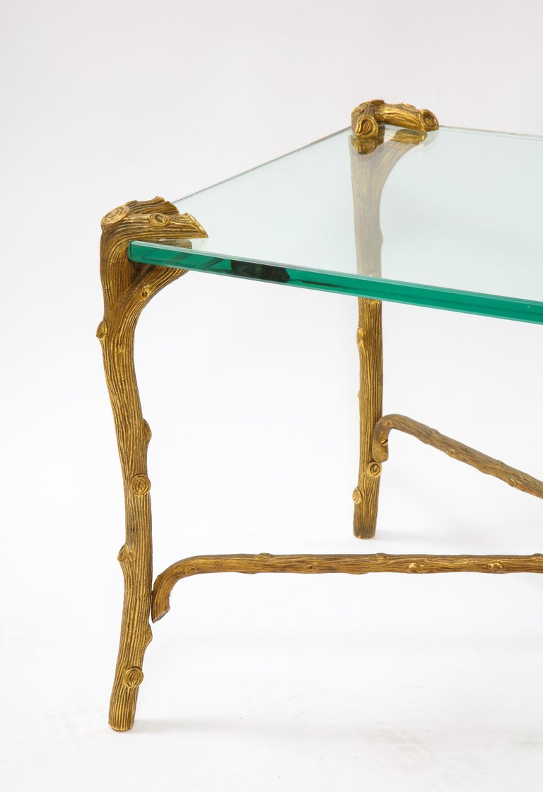 Mid-Century Modern P.E. Guerin Faux Bois Gilt Bronze Table w/ Stretcher, Signed For Sale 3