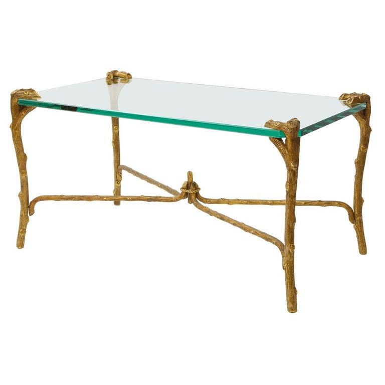 Mid-Century Modern P.E. Guerin Faux Bois Gilt Bronze Table w/ Stretcher, Signed For Sale