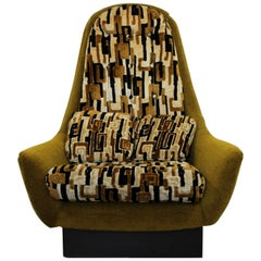 Mid-Century Modern Pearsall Style Plinth Base Lounge Armchair, 1960s