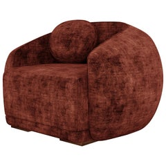 Mid-Century Modern Peggy Armchair Cotton Velvet Walnut Wood