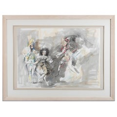 Mid-Century Modern Pen and Watercolor Surreal Courting Scene Signed Emil