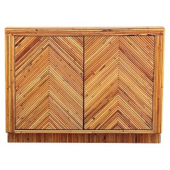Mid-Century Modern Pencil Reed Bamboo Sideboard or Cabinet in Chevron Pattern