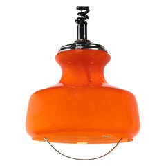 Mid-Century Modern Pendant Lamp in Orange Glass and Chrome by Peill & Putzler