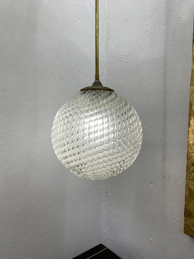 Mid-Century Modern pendant light, circa 1930 by Seguso in Murano Glass, Italy In Good Condition For Sale In Merida, Yucatan