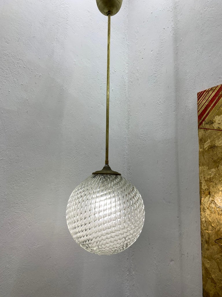 Brass Mid-Century Modern pendant light, circa 1930 by Seguso in Murano Glass, Italy For Sale
