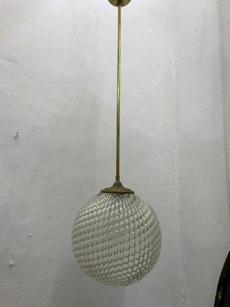 Mid-Century Modern pendant light, circa 1930 by Seguso in Murano Glass, Italy For Sale 1